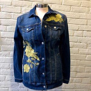 LulaRoe Jaxon gold roses blue denim jacket XS
